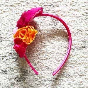 Vintage pink & orange rosette Girls' headband